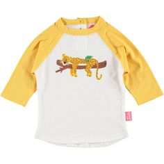 Raglan Sleeve bright colourful unisex kids Yellow leopard tshirt front