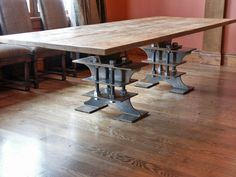 beautiful architectural gathering table from unique i-beams