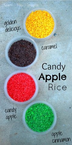 How to make candy apple rice for sensory play - simple steps to make this fun fall recipe for play!