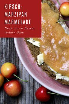 Kirsch-Marzipan Marmalade nach einem Rezept meiner Oma ❤❤❤ Marzipan, Cantaloupe, Fruit, Food, Cherries, Food Food, Rezepte, Essen, Yemek