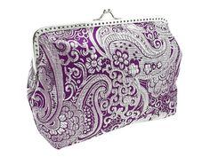 purple and silver brocade purse frame clutch by FashionForWomen