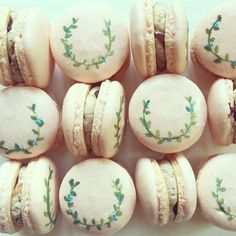 Handpainted macarons   www.crumbandberry.com  #torontowedding #torontobrides #weddingplanning #weddingcake #caledonwedding