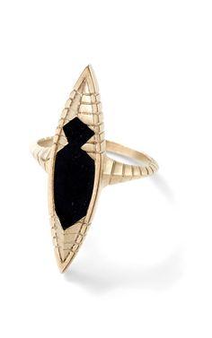 Black Guatemalan Jade Open Pyramid Ring by Monique Péan for Preorder