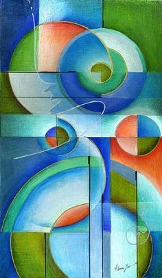 Colored Pencil Art Gallery | Abstract Harmony - by Alma Lee from Contemporary Cubism Art Gallery