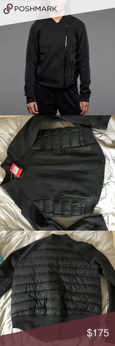 """🆕Nike Aeroloft Tech Fleece Moro Jacket Stay warm, look cool! Aeroloft down combines with tech fleece fabric for this fab jacket. Offset front zipper, two zippered front pockets. NWT, sold out online, hard to find. Retail $250. Size medium, 20.5"""" pit to pit, 22"""" long (slightly longer at center front).🚫NO TRADES✅OFFER BUTTON Nike Jackets & Coats"""