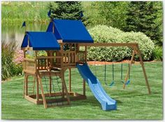 The Great Fun Wood Swing Set. Expand your horizons with the Great Fun wooden play set from Play Mor. With double the floor space of a Watch Tower, it takes the fun to a whole new level. Call today for a free catalog or to find a dealer near you! Wood Swing Sets, Swing Set Plans, Backyard Projects, Outdoor Projects, Backyard Ideas, Lawn Furniture, Outdoor Furniture, Wooden Playset, Kids Swing