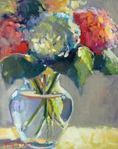 Hydrangeas in glass vase by Erin Gregory