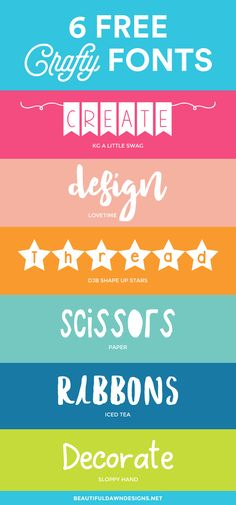A collection of 6 free crafty fonts. Free fonts. via @tiffany_griffin