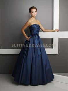 Stunning Navy Satin Strapless Ruched Ball Gown With A Bow-- This would be a gorgeous bridesmaid dress