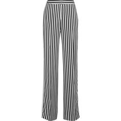 Victoria, Victoria Beckham Striped satin-twill wide-leg pants (13.655 ARS) ❤ liked on Polyvore featuring pants, jeans, black, satin wide leg pants, tux pants, pocket pants, tuxedo pants and striped trousers