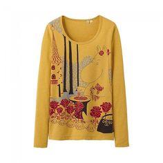 Uniqlo x Moomin Graphic Long Sleeve T-Shirt - Garden (Yellow)