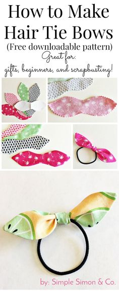 How to make hair ties with fabric - a free tutorial to make knotted hair ties. #fabricscrapprojectshairbows