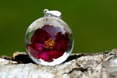 Your place to buy and sell all things handmade Resin Necklace, Resin Jewelry, Beautiful Red Roses, Crystal Resin, My Boutique, Christmas Bulbs, Gifts For Her, Flower Jewelry, Crystals