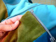 Reißverschluss Jacke mit Bundstreifen-farbenmix-de