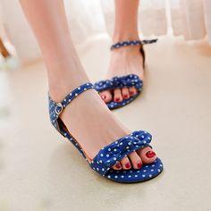 Grandes damas de gran tamaño de punto pelota, sandalias del nudo de la mariposa hebilla sandalias planas peep toe