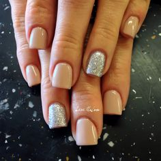 Nails by Lara Nelson -- glitter in the nude, nail art.