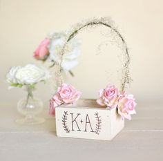 Items similar to Personalized Rustic Chic Flower Girl Basket Paper Roses Baby's Breath Barn Wedding NEW 2014 Design by Morgann Hill Designs on Etsy Trendy Wedding, Rustic Wedding, Flower Girl Basket, Flower Girls, How To Make Necklaces, Fall Wedding Colors, Paper Roses, Wedding Paper, Baby Design