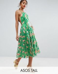 ASOS TALL SALON Floral Embroidered Backless Pinny Midi Prom Dress