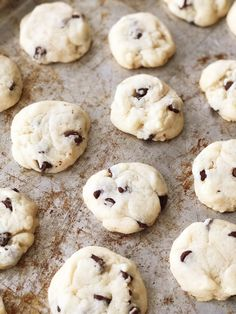 These Condensed Milk Chocolate Chip Cookies taste like a shortbread cookie crossed with a chocolate chip cookie. This recipe is a great way to use up leftover sweetened condensed milk. Condensed Milk Cookies, Condensed Milk Recipes, Milk Chocolate Chip Cookies, Best Chocolate Desserts, Cookie Recipes, Dessert Recipes, Milk Dessert, Lemon Recipes, Gf Recipes