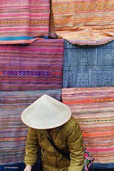 Selling Flower Hmong fabrics - Bac Ha, Vietnam | Flickr - Photo Sharing!