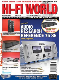EnjoyTheMusic.com has just posted the latest issue of Hi-Fi World that is packed with great reviews and articles. This issue features Audio Research Reference 75 SE tube amplifier, Quadral Chromium Style 8 loudspeakers, Tannoy Revolution XT 6F loudspeakers, Riva Turbo Box speaker.... See this issue at www.EnjoyTheMusic.com/hifi_world/
