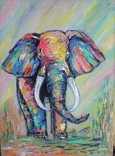 Купить Слон, приносящий удачу. Картина маслом в интернет магазине на Ярмарке Мастеров