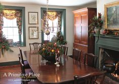 A Primitive Place Home-colonial dining room for Christmas