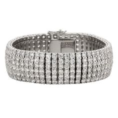 Genuine Rhodium Plated & 8 Inch Bridal Bracelet featuring 336 Cubic Zirconia with a Box Clasp Polished into a Lustrous Silvertone Silver Bracelets, Silver Earrings, Silver Ring, Bangles, Cleaning Silver Jewelry, Keep Jewelry, Jewelry Making, Bridal Bracelet, Engraved Necklace