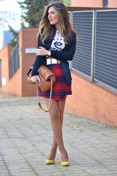Tartan Asymmetric Hem skirt
