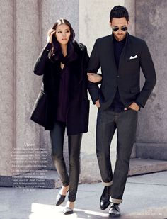 Vince ON HER: Reversible open drape shearling coat in black. XS-L, $2440. Mulberry silk top. XS-L, $350. Black leather legging. XS-L, $1375. Nina black leather d'Orsay flat. 5-10, $295. Shoe is exclusive to Holt Renfrew. ON HIM: Brushed wool herringbone blazer in charcoal. 38-44, $630. Fisherman cable wool sweater in night sky. S-XL, $450. Contrast circle & dot print shirt in coastal. S-XL, $275. Selvedge jean in dry. 28-36, $285. #holtsmag