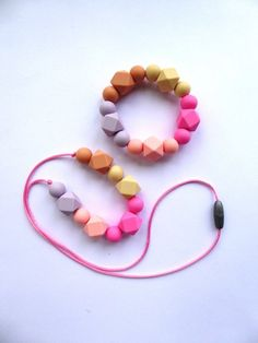 Silicone Teething Necklace Silicone Teether toy Pink Teether