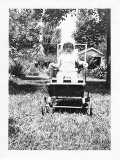 Photograph Snapshot Vintage Black and White: Girl Stroller Cute Bonnet 1930's