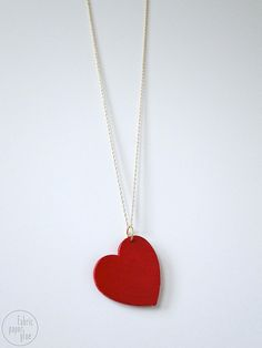 Wood Heart Necklace by fabric paper glue