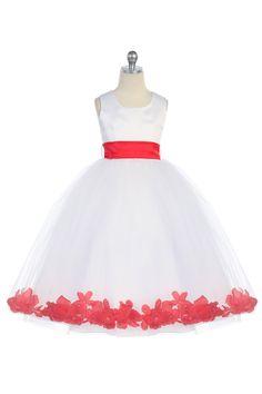 Red Satin & Tulle Flower Girl Dress with Petals & Sash G2570R $39.95 on www.GirlsDressLine.Com