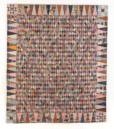 Antique quilt titled Diamond Mosaic Coverlet, circa 1860 - love this scrap beauty Old Quilts, Antique Quilts, Scrappy Quilts, Vintage Textiles, Vintage Quilts, Creative Textiles, Medallion Quilt, Art Watch, Hexagon Quilt