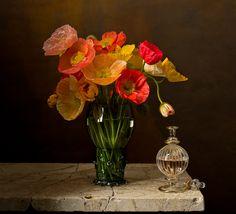 Still life - bouquet, vase, still life, poppies, flowers Still Life Flowers, Love Flowers, Beautiful Flowers, Dutch Still Life, Still Life Art, Flower Vases, Flower Art, Still Life Photography, Art Photography