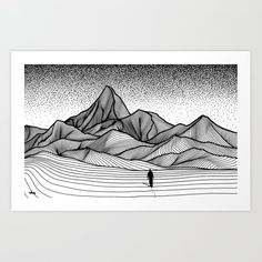 Wanderer Art Print by Christa Rijneveld - X-Small Cool Art Drawings, Pencil Art Drawings, Art Sketches, Wall Art Prints, Canvas Prints, Doodle Art Drawing, Pen Art, Looks Cool, Just For You