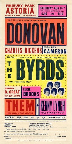 1965 Concert Poster with Donovan, The Byrds, Johnny B. Great & The Quotations, Elkie Brooks, Them and Kenny Lynch Book cover design by Georg. Type Posters, Rock Posters, Band Posters, Design Posters, Movie Posters, Vintage Concert Posters, Vintage Posters, Retro Posters, Hippie Posters