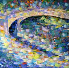 "Original art for sale at UGallery.com | Central Park Bridge by Ina Shtukar | $1,275 | acrylic painting | 36"" h x 36"" w 
