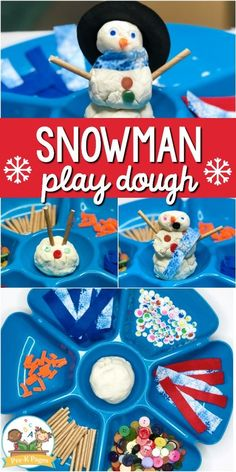 A fun snowman play dough activity for a winter theme in your preschool or pre-k classroom. Make a snowman with white play dough and loose parts. Playdough Activities, Snow Activities, Toddler Activities, Childcare Activities, Indoor Activities, Therapy Activities, Toddler Crafts, Learning Activities, Winter Crafts For Kids