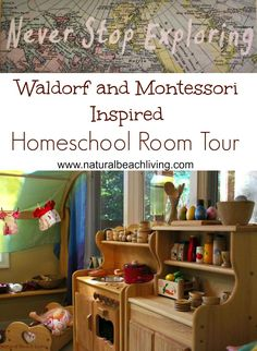 Montessori & Waldorf Inspired Homeschool Room full of natural materials to explore and discover all day. THE BEST WAY TO LEARN & PLAY, Natural Beach Living Waldorf Playroom, Waldorf Preschool, Montessori Preschool, Montessori Education, Preschool Gifts, Waldorf Education, Homeschool Curriculum, Online Homeschooling, Montessori Books