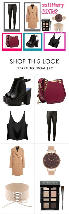 """""""milytary coats"""" by topemma on Polyvore featuring mode, AG Adriano Goldschmied, Balmain, Olivia Burton et Bobbi Brown Cosmetics"""