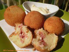 Bolas de pure de papas rellenas con jamon