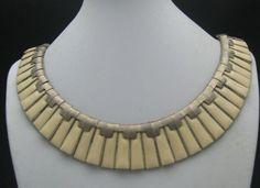 c1940 Ivory Enameled Egyptian Revival Necklace
