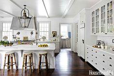 French Bakery Kitchen, bistro stools, white subway tile, white cabinets, crisp palette