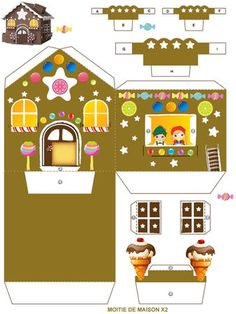 Little house of Haensel and Gretel (Grimm Fairy Tale) Part 1 Christmas Ornament Crafts, Xmas Crafts, Christmas Projects, Christmas Crafts, Crafts For Kids, Christmas Decorations, Diy Crafts, Paper Doll House, Paper Houses