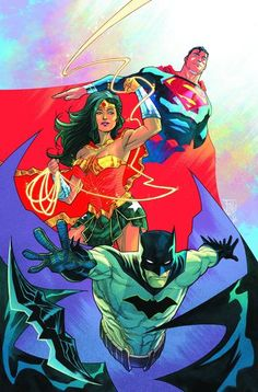 This is a DC super hero comic. The three super heroes shown are Batman, Wonder woman and Superman. The reason i chose this comic is because i really like DC super heroes especially Batman. Marvel Dc Comics, Dc Comics Art, Batman Wonder Woman, Anime Sexy, Superman, Batgirl, Cover Art, Comic Kunst, Dc Trinity