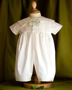 5c9b5a2d191 Angels and Fishes Michael Pure Silk Christening Romper with Choice of Bow  Tie