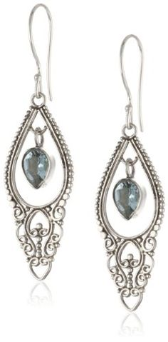 Amazon.com: Sterling Silver Balinese Pear Shape Blue Topaz (1.70 cttw) Dangle Earrings: Jewelry
