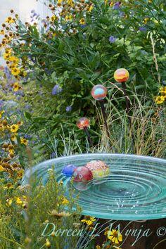 Glass Bird Bath with Glass Floats